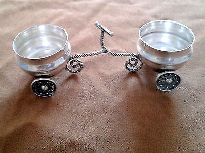 Pair Vintage 925 Sterling Silver Salt Cellars with Four Wheels and Holder 50g