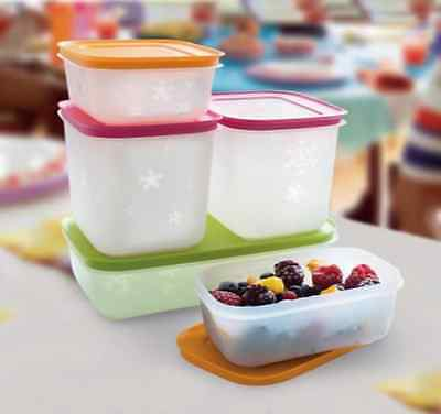TUPPERWARE CONTAINERS FREEZERS SET: 2 X 450ML + 2 x 1.1L + 1.1L SPECIAL OFFER