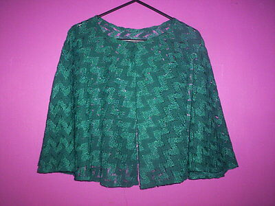 Authentic British Vintage Green Handmade Embroidered Green Shawl Cape