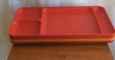 Tupperware Lot/4 Harvest Colors Dining Trays Picnic Daycare TV Tray