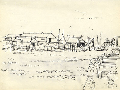 Paul Sharp - Mid 20th Century Pen and Ink Drawing, View of Docks