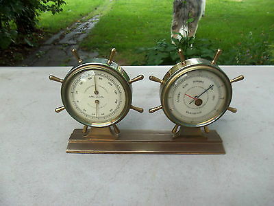 vintage brass airguide thermometer , barometer , and humidity instruments