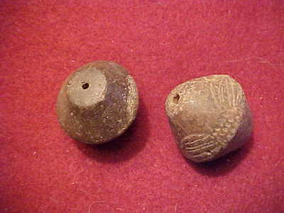 Two Pre-Columbian Maya Terracotta Beads...large