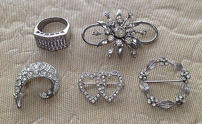 Vintage Costume Jewelry Lot Silver Tone Clear Rhinestones  Brooches Ring Lot 194