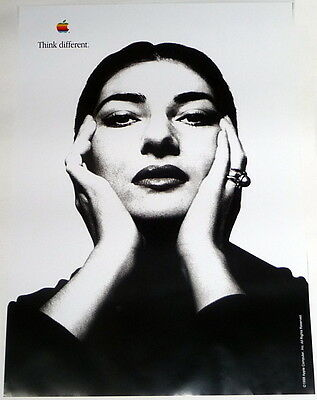 APPLE POSTER *THINK DIFFERENT * MARIA CALLAS * 28/20 inches MINT Steve Jobs