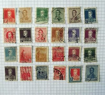 Collection of 24 Argentina stamps.      1