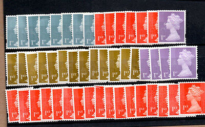 GB, 50, 1st Class Unfranked Stamps, All Off Paper. No Gum.