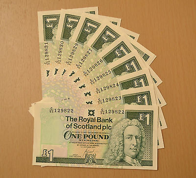 Royal Bank of Scotland, ten consecutive and uncirculated £1 one pound notes