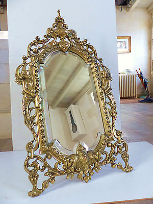 SUPERB VERY LARGE ANTIQUE FRENCH FIGURAL BRONZE TABLE MIRROR c.1880's . 21 1/4 ""