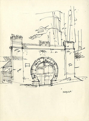 Paul Sharp - Mid 20th Century Pen and Ink Drawing, Folly