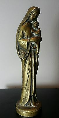 Large Antique Vintage Late Victorian Virgin Mary solid brass statue figure