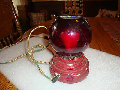 Vintage Ww2 Era Light Exit Emergency Wood Base Red Glass Safety Wall Fixture