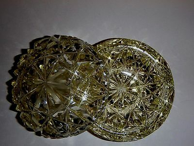 Vintage Pressed Glass Covered Candy/Trinket Dish  Light Yellow