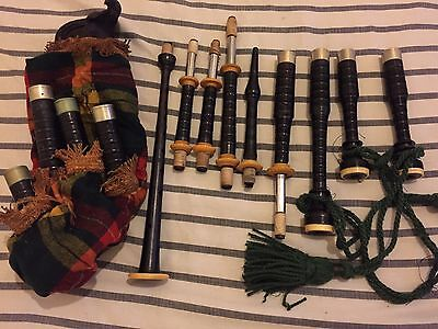 Antique Vintage David Glen & Son Bagpipes ? Fireside with  Wooden Box