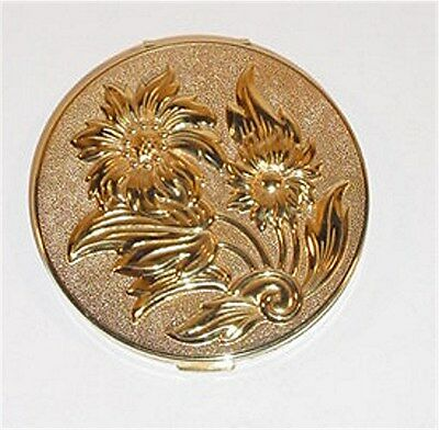 Gold Toned American Beauty Vintage Compact W/ Embossed Flowers
