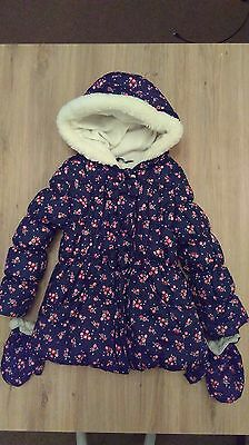 George Asda Girls Blue Floral Puffa Jacket with detachable gloves Age 5-6 Years