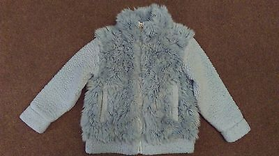 Next Girls Blue Fluffy Coat Age 4 Years