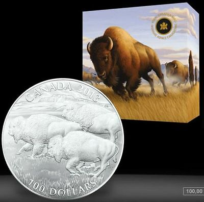 $100 for $100 Fine Silver Coin - Bison (2013) - IN HAND - Sold out at RCM NO TAX