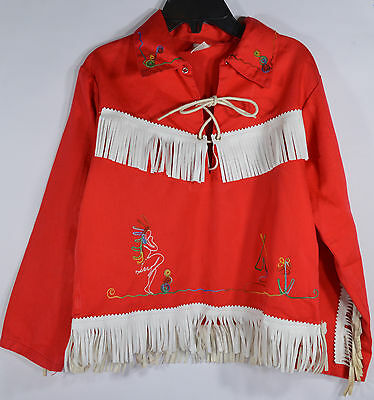 Child Red Cowboy Costume by Young Texan White Leather Fringe Size 6X/7 Halloween