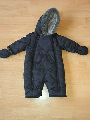 Mothercare Baby boys navy blue snow suit aged 0-3months