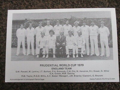 England Prudential World Cup Cricket Team Postcard 1979 With