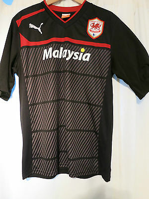 Mens Cardiff City Black Puma Football Shirt - Large