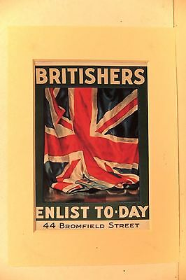 Reprint Britishers Enlist Wartime Poster In Mount Ready To Frame