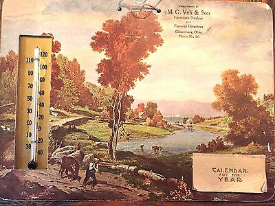M. G. Veh & Son Funeral Directors & Furniture 1936 Calendar Thermometer Ohio
