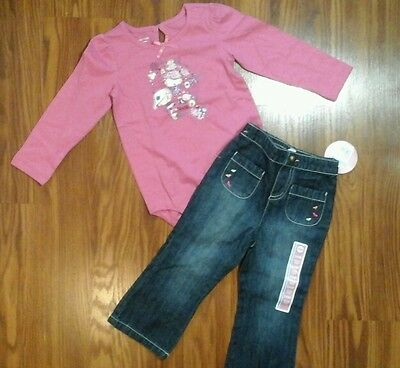 Baby girls 2 piece outfit pink bodysuit ,New jeans size 24 months