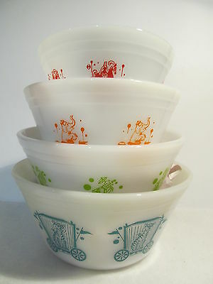 4 Vintage Federal Nesting Or Mixing Bowl - Circus Series