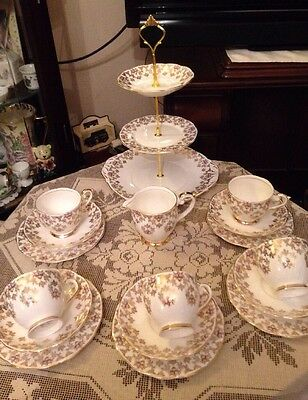 Beautiful Vintage Queen Anne Bone China Tea Set & Cake Stand Gold & Floral