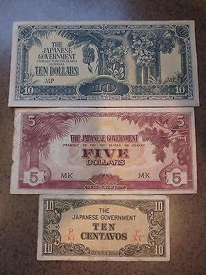 Lot of 3 Japanese Government Currency Notes ($10, $5, & 10 Centavos)