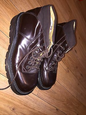 Kenneth cole Men's Steel Toe Boots sz 8 uk brown leather lace up heavy duty