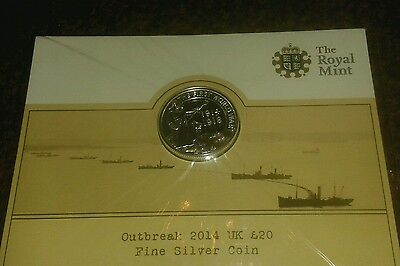 Royal Mint 2014 £20 Sealed Twenty Pound Silver Coin WWI Outbreak