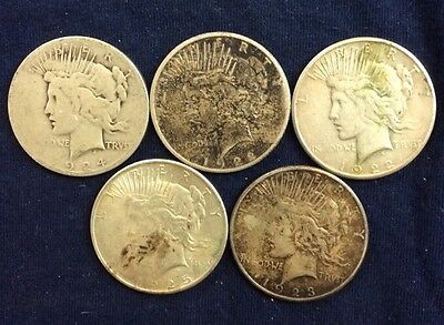 5 Peace Dollars Circulated Culls Various Dates And Mint marks DC7