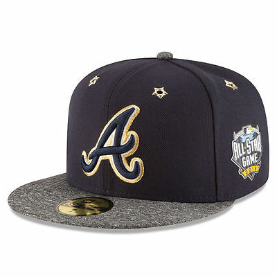 new arrival 6f362 141c8 Atlanta Braves New Era 2016 MLB All Star Game Patch 59FIFTY Cap Navy Hat  Size 7