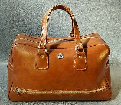 US Luggage Co. Rare VTG Tan Cognac Belting Leather Large Duffle Bag Hand Bag