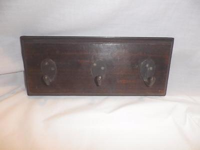 Three Antique/vintage Hat Or Coat Hooks Mounted On Wood - Free Shipping