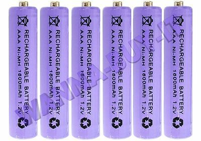 6 x 1.2v 1800 mAh AAA RECHARGEABLE BATTERIES FOR BT CORDLESS TELEPHONES & MORE