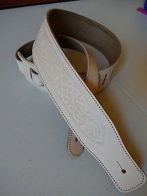 GUITAR STRAP-GENUINE Italian LEATHER 'CELTIC' *NATURAL**uk Made, Fits Any Guitar
