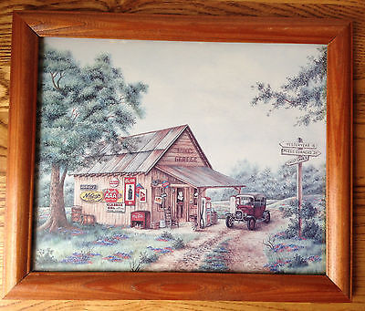 Vintage 1993 Coca Cola MIKE'S GARAGE Framed Kay Lamb Shannon Lithograph 8 X 10