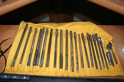 Chucking reamer Set w/Pouch 22 reamers & 1 Drill Bit HP HS USA