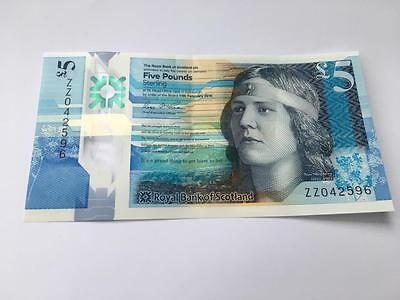 Royal Bank Of Scotland £5 Polymer Note. Zz042596 Excellent Condition