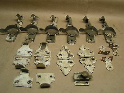 6 pairs of Vinyage / Antique Brass window latches, pair of hinges & extras LOT