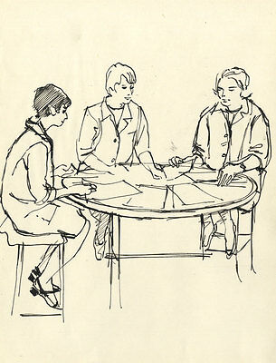 Paul Sharp - Mid 20th Century Pen and Ink Drawing, Seated Figures at a Table