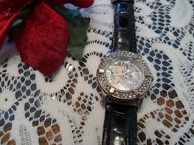 Betty Boop Black Leather Watch