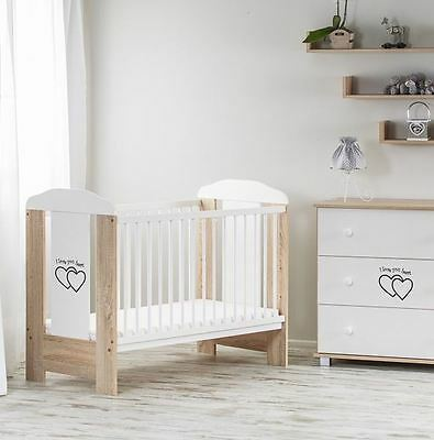 BABY WOODEN COT FRAME 120 x 60 / SELECTIONS OF COT & FOAM MATTRESS PINE COLOUR
