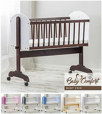 BABY WOODEN FRAME SWINGING CRIB 90x40 cm ROCKING CRADLE NEWBORN COT IN WHITE