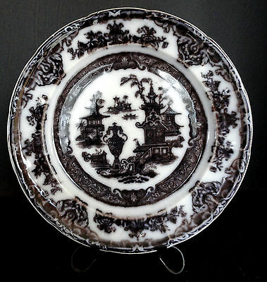 """Ironstone """"Temple"""" Plate Podmore, Walker & Co.  Flow Black Mulberry 1850"""