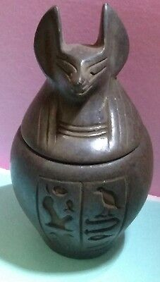 Egyptian Antique, Anubis God Of Mummification Canopic Jar 66 g, see description